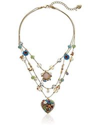 """Betsey Johnson - """"weave And Sew Woven Mixed Multi-colored Bead Flower Heart Illusion Necklace - Lyst"""