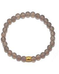 Satya Jewelry - Grey Agate Gold Plate Moon Stretch Bracelet - Lyst