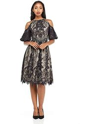Maggy London - Petite Lace Party Dress With Cold Shoulder Detail - Lyst