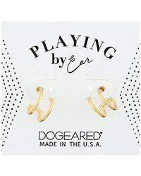 Dogeared - Pe Dbl Loop Stud Earrings, Gold - Lyst