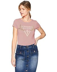 Guess - Short Sleeve Sequin Crane Logo T-shirt - Lyst