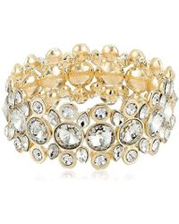 T Tahari - S Essentials Stretch Bracelet With Stones, Gold/crystal, One Size - Lyst