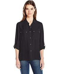 Jones New York - Pleated Back Button Up W/rolled Sleeve - Lyst