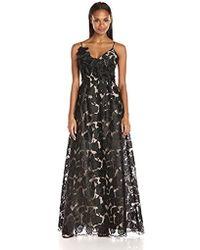 17532c5acc21 ML Monique Lhuillier Odyssey One-Shoulder Jacquard Gown in Black - Lyst