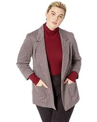 Nine West - Plus Size Notch Collar Kiss Front Jacket With Two Pockets, - Lyst