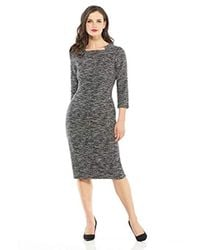 45542119 Maggy London - Tweed Jacquard Novelty Midi Sheath With Square Neck - Lyst