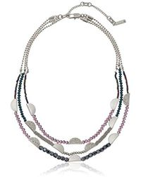 "Kenneth Cole - Stone Central Pave Mixed Faceted Bead Multi Row Necklace, 16"" + 3"" Extender - Lyst"