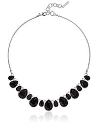 """Nine West - Silver-tone And Jet 16"""" Frontal Necklace - Lyst"""