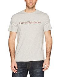 49bf6f6d98c0 Calvin Klein Classic Ck Logo Crew Neck Tee in Blue for Men - Lyst