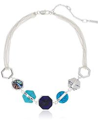 """Kenneth Cole - Mixed Geometric Semiprecious Stone Necklace, 16"""" + 4"""" Extender - Lyst"""