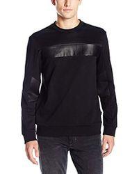 Calvin Klein - Leather Mix Media Crew Neck Long Sleeve Sweatshirt - Lyst