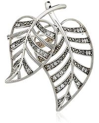 Judith Jack - Sterling Silver Swarovski Marcasite And Crystal Pave Leaf Brooches And Pin - Lyst