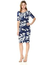 Adrianna Papell - Watercolor Blossoms Printed Draped Sheath - Lyst