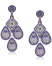 Miguel Ases - Violet Rice Bead Pointed Square Center Chandelier Drop Earrings - Lyst