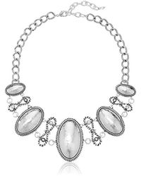 """Napier - Classics Silver-tone And Crystal Large Frontal Necklace, 17"""" + 3"""" Extender - Lyst"""