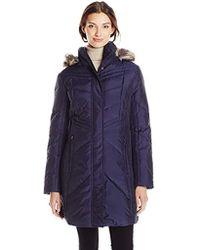 """Anne Klein - Harriet 35"""" Chevron Down Coat With Detachable Faux-fur Trim Hood - Lyst"""
