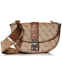 47eab95bb0 Guess - Florence Shoulder Bag Bro - Lyst