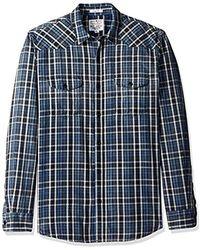 Lucky Brand - Santa Fe Western Shirt In Dark Indigo - Lyst