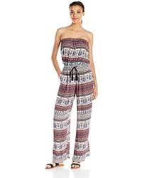 dc01e069bb1 MINKPINK - Secret Keeper Strapless Wide Leg Printed Jumpsuit - Lyst