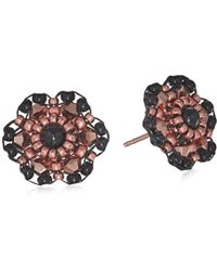 Miguel Ases - Small Onyx Center 3d Dahlia Flower Post Drop Earrings - Lyst