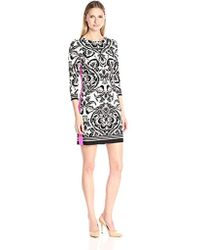 Eliza J - Printed Shift Dress With Solid Side Panels - Lyst