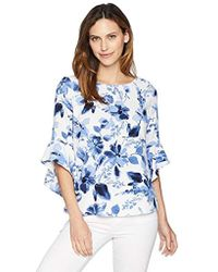 fdb68c92f18 Kasper - Floral Printed Blouse With Ruffle Sleeve Detail - Lyst