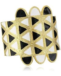 Kenneth Jay Lane - Satin Gold With Black And White Enamel Cuff Bracelet - Lyst