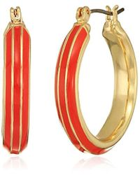 Napier - Coral And Gold Click It Hoop Earrings - Lyst
