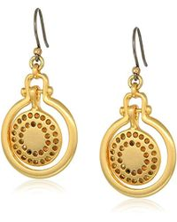 Lucky Brand - Brushed Pave Orbital Drop Earrings, Gold, One Size - Lyst