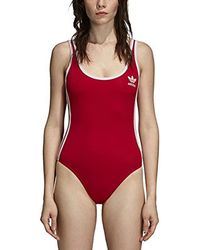 adidas Originals - 3 Stripes Bodysuit (real Red) Women's Swimsuits One Piece - Lyst