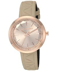 Karl Lagerfeld - Janelle Quartz Stainless Steel And Leather Watch, Color: Rose Gold-tone, Light Brown (model: Kl1612) - Lyst