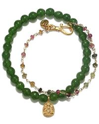 Satya Jewelry - Goldstone And Mystic Purple Quartz Gold Lotus Bracelet Set - Lyst