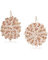 "Kenneth Cole - ""rose Gold Items"" Rose Gold And Blush Beaded Woven Drop Earrings - Lyst"