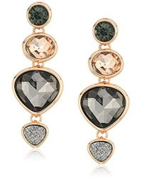 Kenneth Cole - Supercharged Collection Rose Gold Multi-stone Drop Earrings, Black Diamond - Lyst
