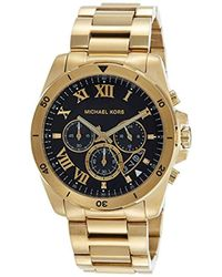 74e6b5d6f9f2 Michael Kors - 44mm Brecken Goldtone Stainless Steel Bracelet Watch - Lyst