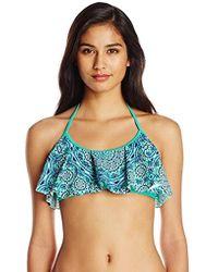 3da6b641287 Jessica Simpson Printed Triangle Bikini Bra Top in Blue - Lyst