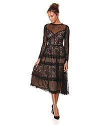 Tadashi Shoji - L/s All-over Lace Dress, - Lyst