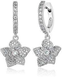 Kate Spade - S Pave Bloom Drop Huggies Earrings, Clear/silver - Lyst