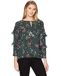 d8573b9c870 Ivanka Trump - Georgette Long Sleeve Ditsey Floral Ruffle Blouse
