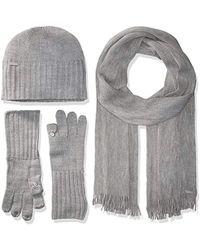 Calvin Klein - 3 Piece Belly Band Set-hat, Scarf, Flip Tip Glove - Lyst