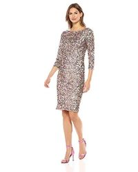 Adrianna Papell - Short Column Sequin Dress With Boat Neckline - Lyst