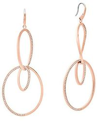 Michael Kors - S Brilliance Rose Gold-tone Drop Hoop Earrings, One Size - Lyst