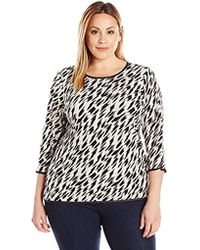 Calvin Klein - Plus-size Three-quarter-sleeve Top With Piping - Lyst