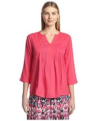James & Erin - Pleated Solid Peasant Top - Lyst