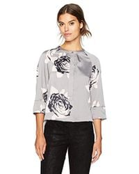Armani Jeans - Macro Floral All Over Printed Blouse - Lyst