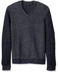 Armani Exchange | Wool Blend Double Yrd Dyed V Neck Sweter - Blue