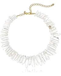 """Kenneth Jay Lane - Gold-tone White Frost Glass Necklace, 17""""+ 5"""" Extender - Lyst"""