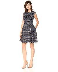 Vince Camuto - Bonded Lace Fit And Flare Dress - Lyst