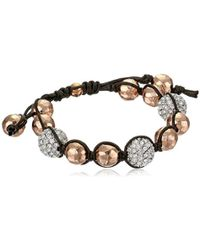 Tai - Rose Gold Hammered Ball With Pave Swarovski Crystals Bracelet - Lyst