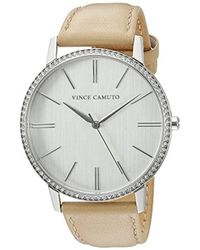 Vince Camuto - Vc/5327svtn Swarovski Crystal Accented Tan Leather Strap Watch - Lyst